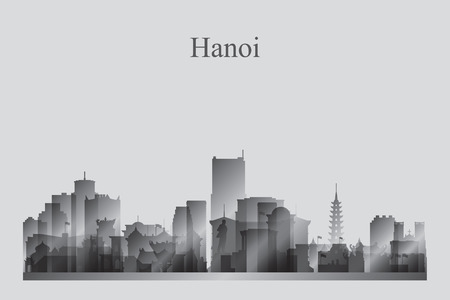 Hanoi city skyline silhouette in grayscale vector illustration