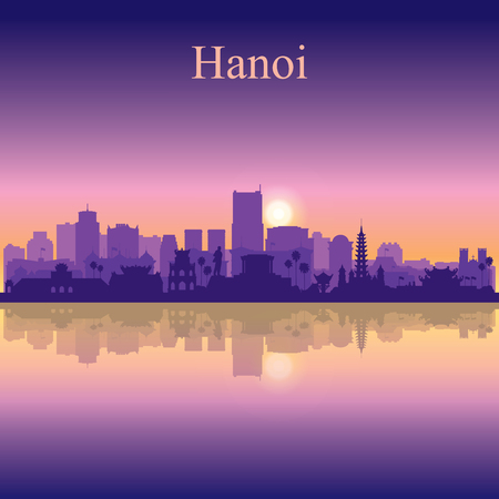 Hanoi city silhouette on sunset background vector illustration