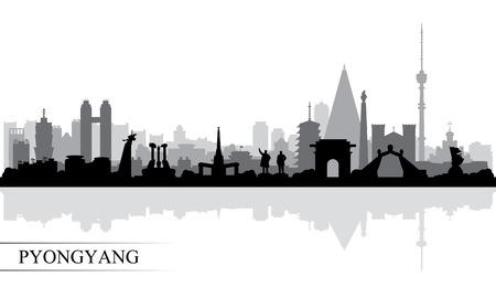 Pyongyang city skyline silhouette background, vector illustration