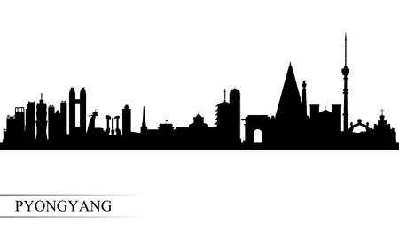 Pyongyang city skyline silhouette background, vector illustration 写真素材 - 124312881