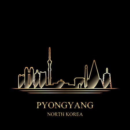 Gold silhouette of Pyongyang on black background vector illustration 写真素材 - 122902014