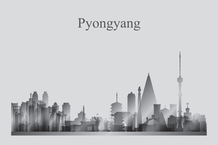 Pyongyang city skyline silhouette in grayscale vector illustration 写真素材 - 124312882
