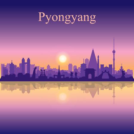 Silhouette de la ville de Pyongyang sur illustration vectorielle fond coucher de soleil