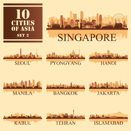 Set of 10 Asian cities, vector illustration