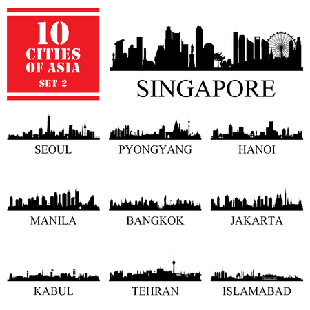 Set of 10 Asian cities, vector illustration 写真素材 - 122902017