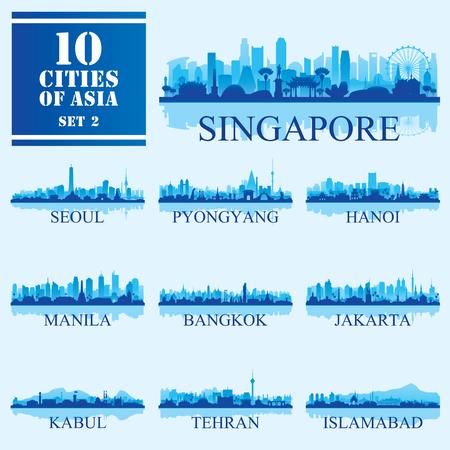 Set van 10 Aziatische steden, vectorillustratie