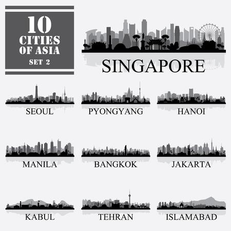 Set of 10 Asian cities, vector illustration