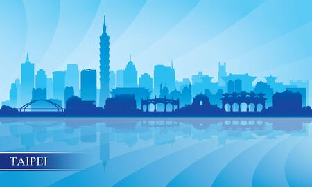 Taipei city skyline silhouette background, vector illustration  イラスト・ベクター素材