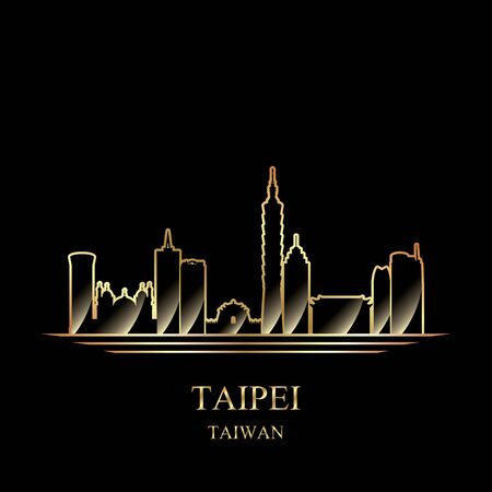Gold silhouette of Taipei on black background vector illustration