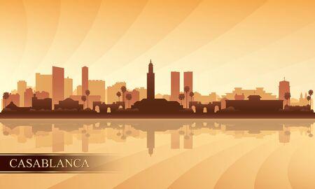 Casablanca city skyline silhouette background, vector illustration  イラスト・ベクター素材