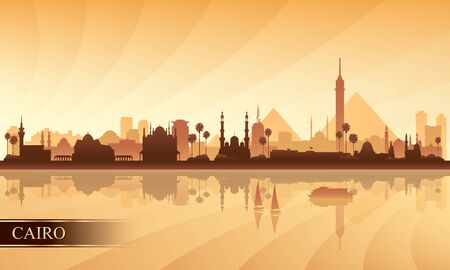 Cairo city skyline silhouette background, vector illustration