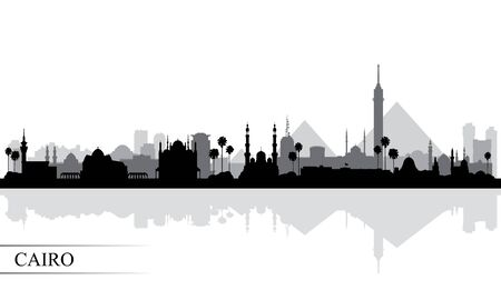 Cairo city skyline silhouette background, vector illustration Çizim
