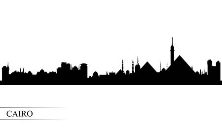 Cairo city skyline silhouette background, vector illustration Çizim