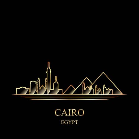 Gold silhouette of Cairo on black background vector illustration