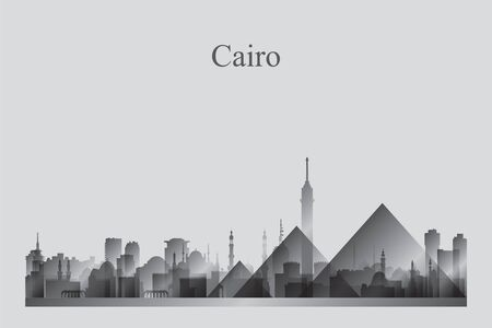 Cairo city skyline silhouette in a grayscale vector illustration
