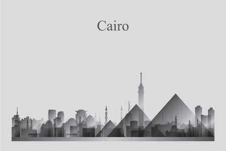Silhouette d'horizon de la ville du Caire dans une illustration vectorielle en niveaux de gris Vecteurs