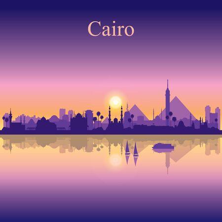Silhouette de la ville du Caire sur illustration vectorielle fond coucher de soleil