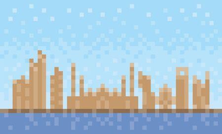 Abu Dhabi city skyline, pixel art background, vector illustration