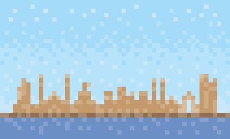 Ajman city skyline, pixel art background, vector illustration