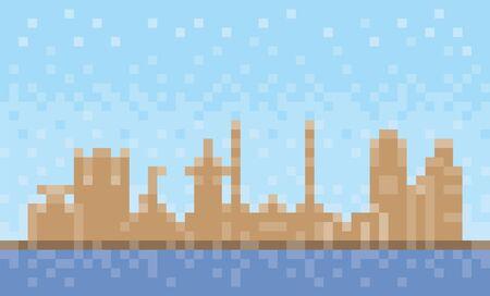 Fujairah city skyline, pixel art background, vector illustration  イラスト・ベクター素材