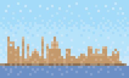 Ras al-Khaimah city skyline, pixel art background, vector illustration