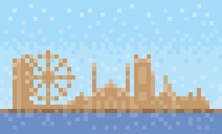 Sharjah city skyline, pixel art background, vector illustration