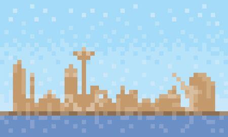 Umm al-Quwain city skyline, pixel art background, vector illustration