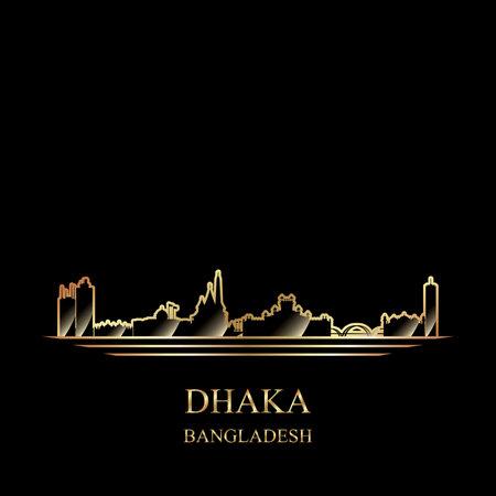 Gold silhouette of Dhaka on black background vector illustration