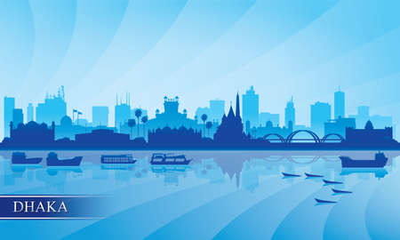 Dhaka city skyline silhouette background, vector illustration 写真素材 - 160155552