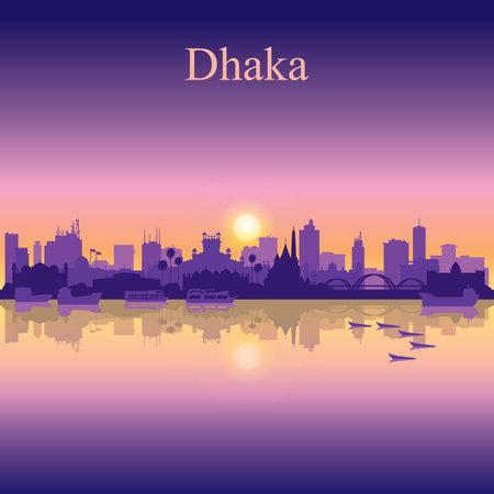 Dhaka city silhouette on sunset background vector illustration