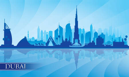 Dubai city skyline silhouette background, vector illustration 写真素材 - 162821072