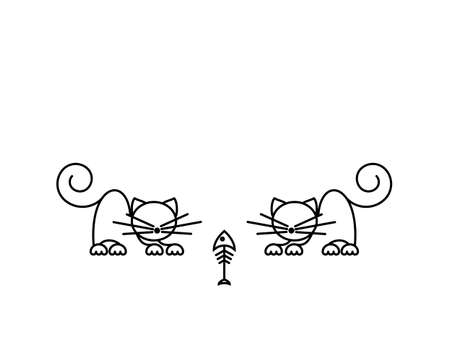 Cat Print. Funny kittens playing with a fish. Minimalist Art. Vector illustration. 写真素材 - 162821453