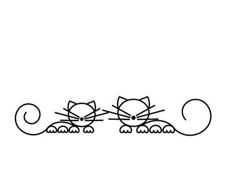 Happy Cats Silhouettes. Cat Print. Minimalist Art. Vector illustration. 写真素材 - 162821456