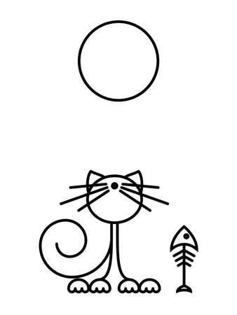 Cat Print. Funny kitten playing with a fish. Minimalist Art. Vector illustration.  イラスト・ベクター素材