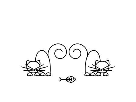 Cat Print. Funny kittens playing with a fish. Minimalist Art. Vector illustration.  イラスト・ベクター素材