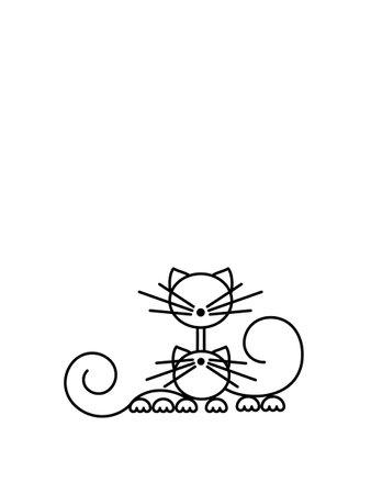Happy Cats Silhouettes. Cat Print. Minimalist Art. Vector illustration.