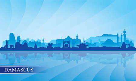 Damascus city skyline silhouette background, vector illustration Vecteurs