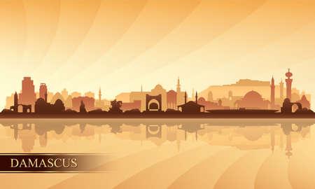 Damascus city skyline silhouette background, vector illustration