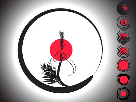 The Background is representing the bamboo branch in the form of the circle, and seven spherical picturesque elements. Black, white and red colors are in the illustration.