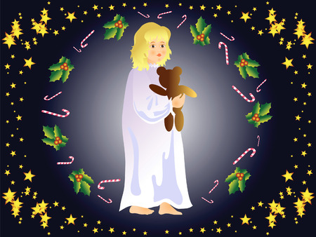 Christmas night. A little girl with a teddy bear in hand. She's waiting for a miracle. Stock Vector - 6217614