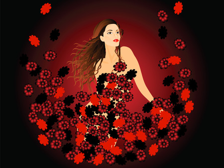 This is a beautiful girl. Around her red flowers.