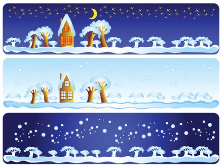 This is a winter landscape: day, night, snow. This is a set of decorative elements. Vector