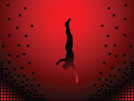 Man falls into the abyss. This is flight. The background is red. Stock Vector - 6217608