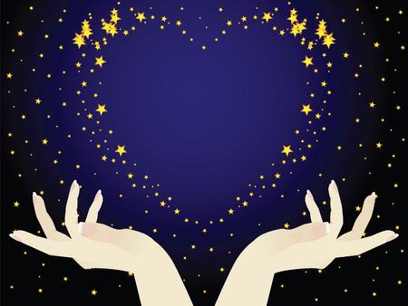 Esto es el cielo de la noche. Las manos sosteniendo el corazón. Este romántico. Ilustración de vector