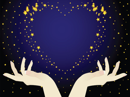 This is the night sky. The hands holding the heart. This romantic. Vetores