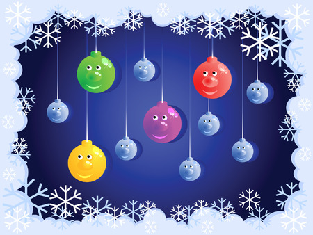 This cheerful Christmas balls. Around them the frame of the snow. Stock Vector - 6231887