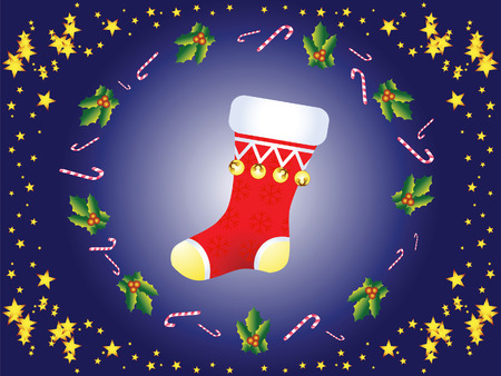 Christmas sock on the background of stars, lollipops and other things.
