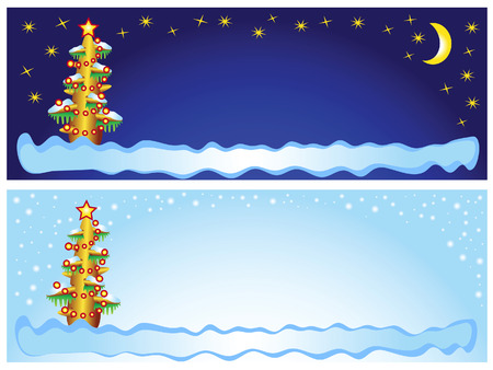 This is a set of New Year's backgrounds. Day and night. Christmas tree. Stock Vector - 6231886