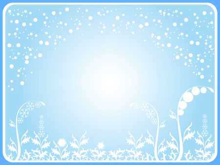 It's snowing. The grass is made up of ice patterns. Stock Vector - 6231888
