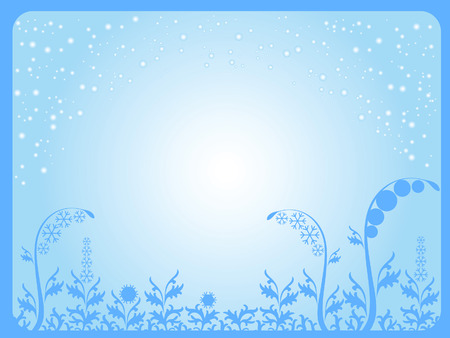 The background is blue frame. It's snowing. The grass is made up of ice patterns and snowflakes. Stock Vector - 6231891